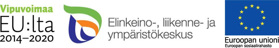 Rahoittajan logot, Euroopan sosiaalirahasto (ESR), Pohjois-Pohjanmaan elinkeino-, liikenne- ja ympäristökeskus.
