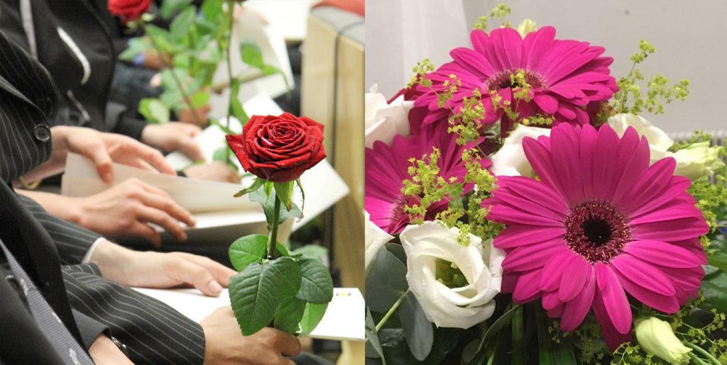 Punainen ruusu, henkilöiden kädet, kukkakimppu, jossa pinkkejä ja valkoisia kukkia.
