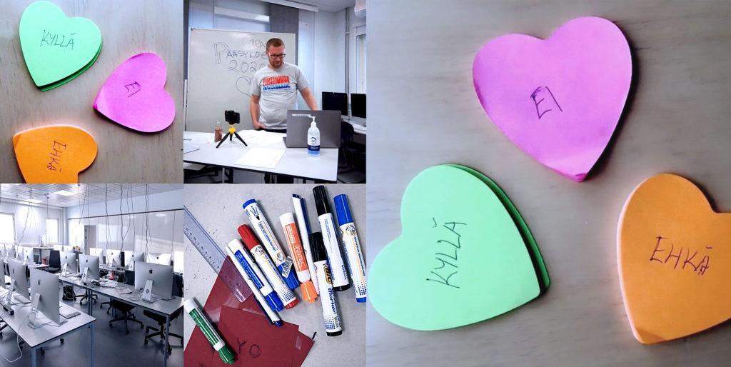 Sydämenmuotoisia eri värisiä tarralappuja, joissa tekstit kyllä, ei ja ehkä, luokkahuone, jossa tietokoneita, pöydän takana henkilö, taululla teksti grasun pääsykokeet 2020, tusseja pöydällä.