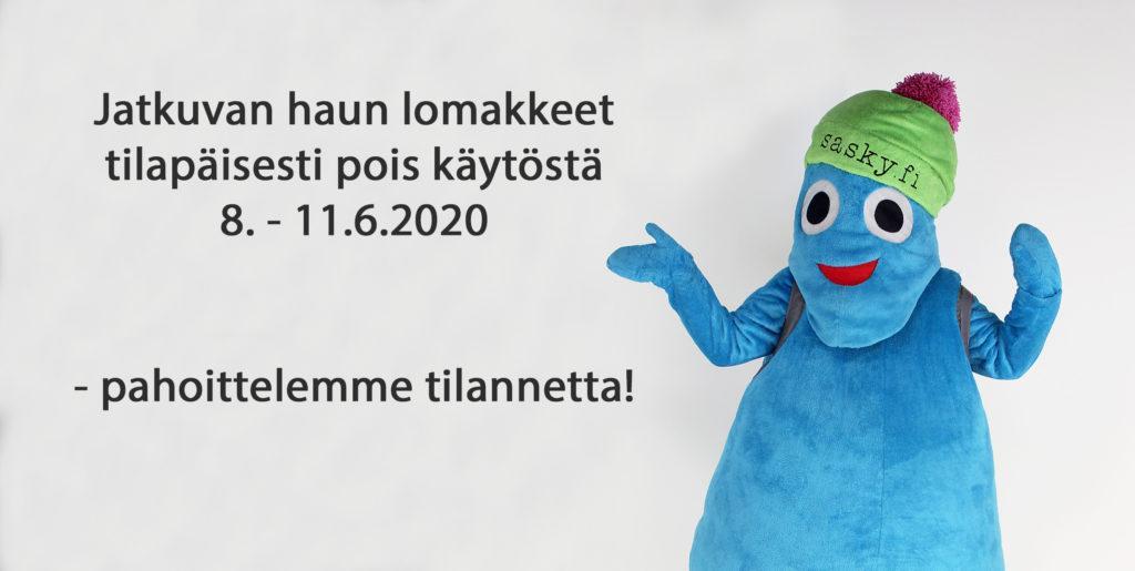 Teksti: Jatkuvan haun lomakkeet tilapäisesti pois käytöstä 8. - 11.6.2020 - pahoittelemme tilannetta, maskottihahmon kuva vaalealla taustalla