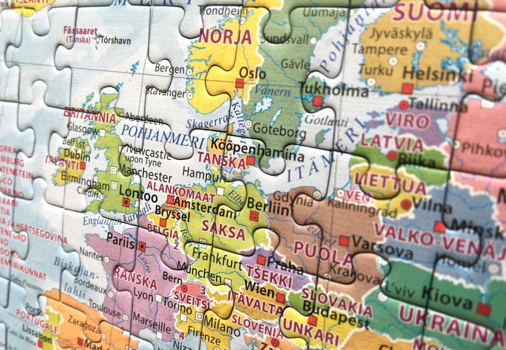 Kuva palapelistä, joka esittää Euroopan karttaa.