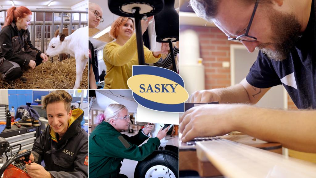 Kuvia ammatillisen koulutuksen eri aloilta ja Saskyn logo.