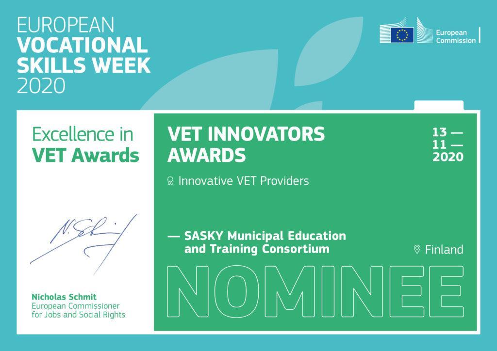 Kunniakirja, jossa teksti VET Innovators Awards Sasky Nominee.
