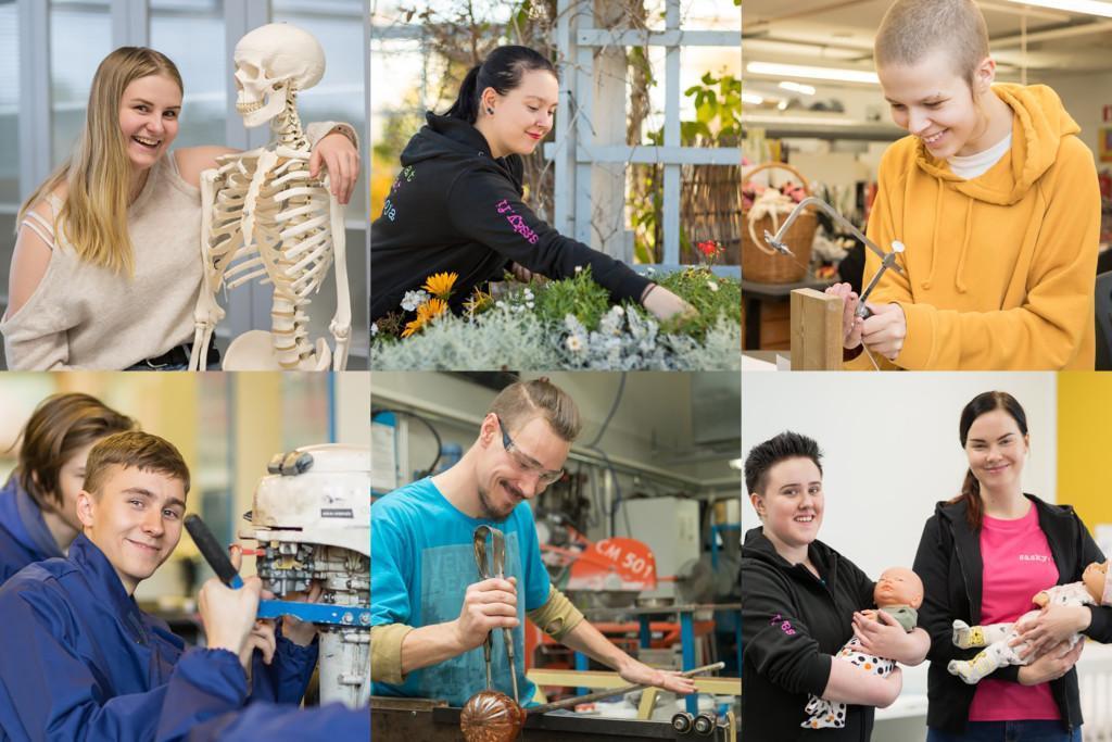 Kooste Saskyn ammattialojen ja opiskelijoiden kuvista.