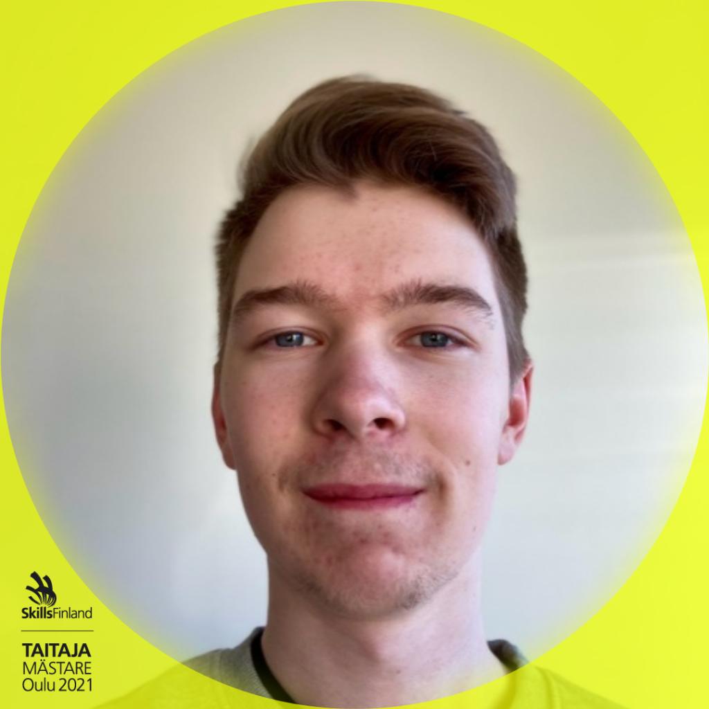 Rasmus Joki, henkilökuva Taitaja-kehyksissä.