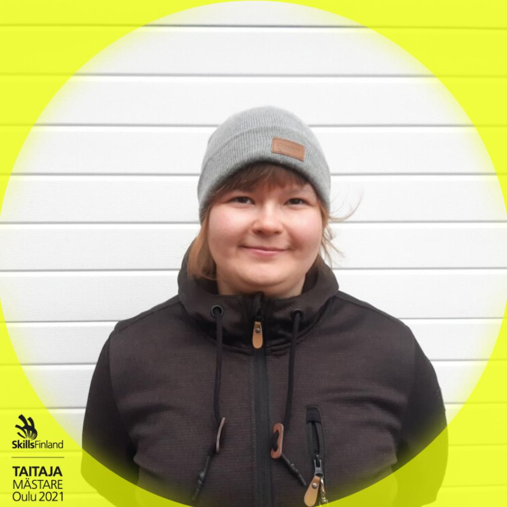 Sanna-Maria Karvonen, henkilökuva Taitaja-kehyksissä.