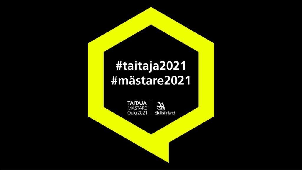 Mustalla taustalla keltaisessa puhekuplassa teksti taitaja2021.