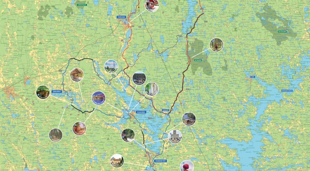 Kuva kartasta, johon on merkitty eri kohteita.