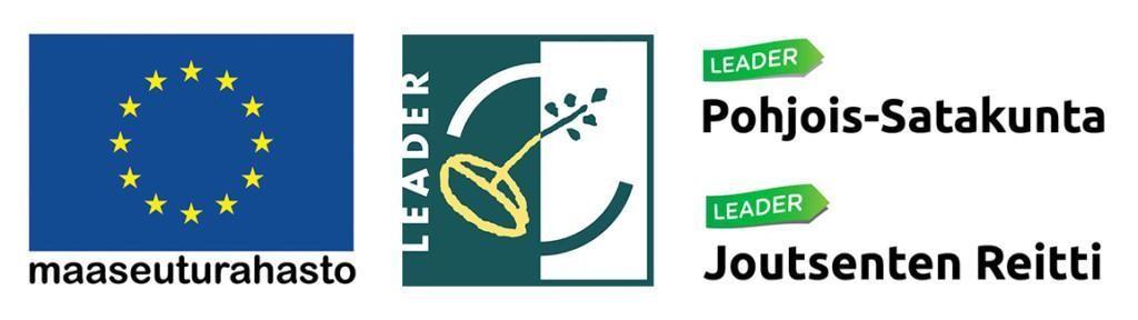 Hankerahoittajien logoja, EU maaseuturahasto, Leader, Leader Pohjois-Satakunta ja Leader Joutsenten Reitti.